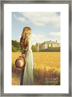Woman With Straw Hat Framed Print by Amanda And Christopher Elwell