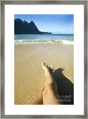 Womans Legs Relaxing Framed Print by Kicka Witte - Printscapes
