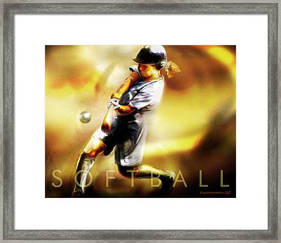 Women In Sports - Softball Framed Print by Mike Massengale
