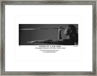 Women Of A New Tribe - Debra With Spear Framed Print by Jerry Taliaferro