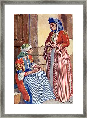 Women Of Nazareth, Palestine, In Gala Framed Print by Vintage Design Pics