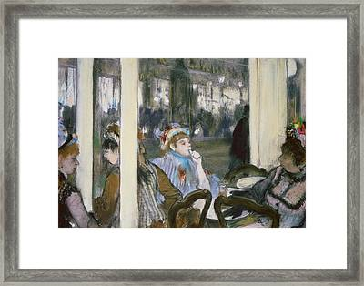 Women On A Cafe Terrace Framed Print by Edgar Degas