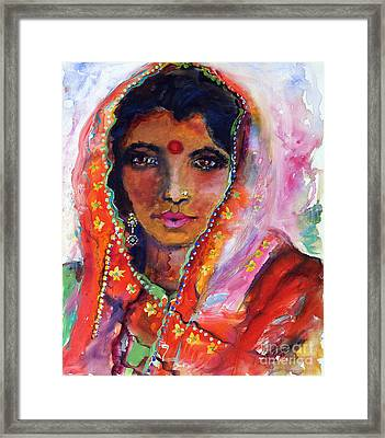 Women With Red Bindi By Ginette Framed Print by Ginette Callaway