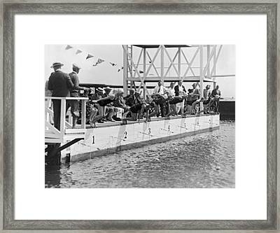 Women's Swimming Championship Framed Print by Underwood Archives