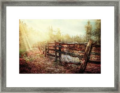 Wood Fences In The Fog Framed Print by Debra and Dave Vanderlaan