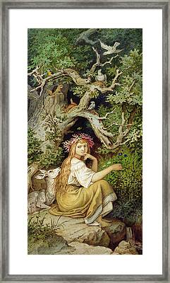 Wood Nymph  Framed Print by Ludwig Adrian Richter