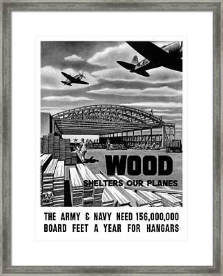 Wood Shelters Our Planes - Ww2 Framed Print by War Is Hell Store