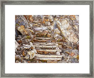 Wood Steps Through Rock Framed Print by Marv Vandehey