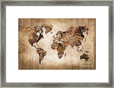 Wood World Map Framed Print by Delphimages Photo Creations