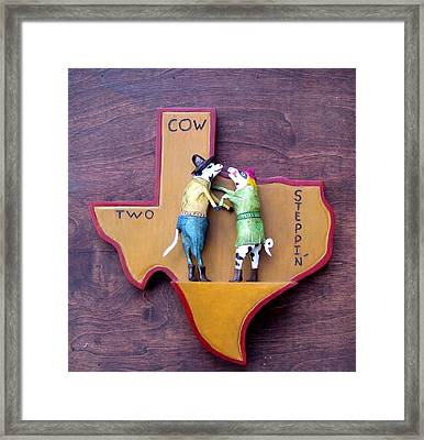 Woodcrafted 2 Cow Steppin' Framed Print by Michael Pasko
