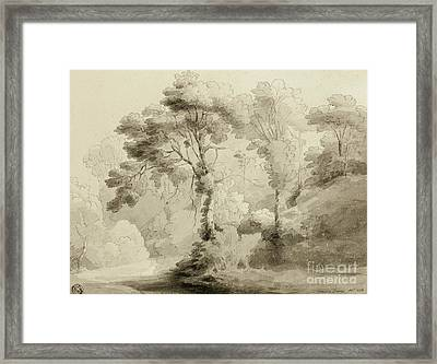 Wooded Landscape Framed Print by Francis Towne