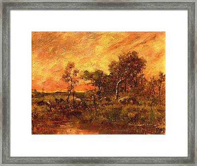 Wooded Landscape With A Faggot Gatherer Framed Print by Pierre Etienne Theodore Rousseau