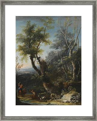 Wooded Landscape With Figures And A Dog Framed Print by MotionAge Designs