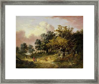 Wooded Landscape With Woman And Child Walking Down A Road  Framed Print by Robert Ladbrooke