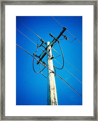 Wooden Electric Pole Framed Print by Lanjee Chee