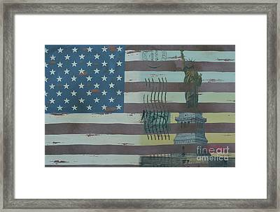Us Wooden Flag With Statue Of Liberty Framed Print by To-Tam Gerwe