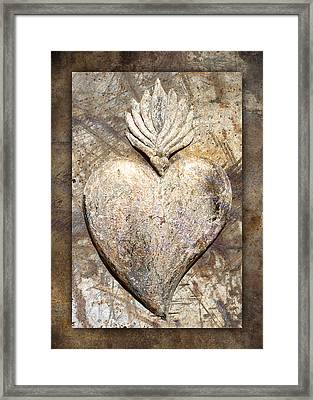 Wooden Heart Framed Print by Carol Leigh