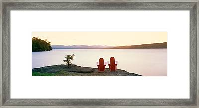 Wooden Lawn Chairs Overlooking Basin Framed Print by Panoramic Images