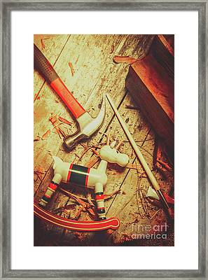 Wooden Model Toy Reindeer. Christmas Craft Framed Print by Jorgo Photography - Wall Art Gallery