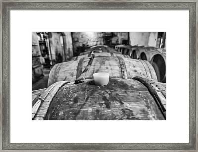 Wooden Wine Barrel Row Framed Print by Georgia Fowler