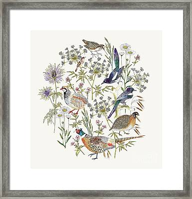 Woodland Edge Birds Placement Framed Print by Jacqueline Colley