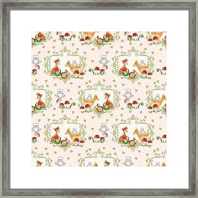 Woodland Fairy Tale - Pink Sweet Animals Fox Deer Rabbit Owl - Half Drop Repeat Framed Print by Audrey Jeanne Roberts