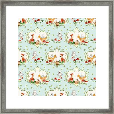 Woodland Fairy Tale - Sweet Animals Fox Deer Rabbit Owl - Half Drop Repeat Framed Print by Audrey Jeanne Roberts