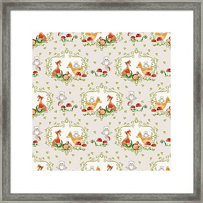 Woodland Fairy Tale -  Warm Grey Sweet Animals Fox Deer Rabbit Owl - Half Drop Repeat Framed Print by Audrey Jeanne Roberts