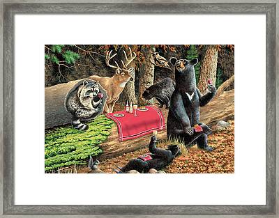 Woodland Wine Tasting Framed Print by JQ Licensing