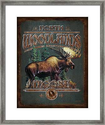 Woodlands Moose Framed Print by JQ Licensing