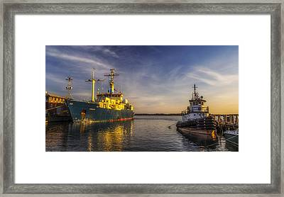 Woods Hole Ship Yard Framed Print by Mark Papke