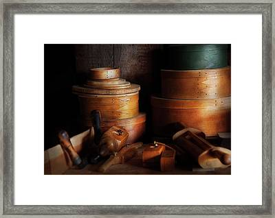 Woodworker - Shaker Box Shop  Framed Print by Mike Savad