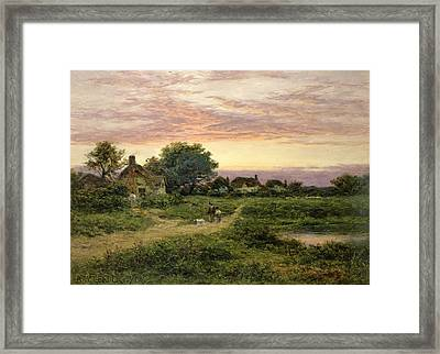 Worcestershire Cottages Framed Print by Benjamin William Leader