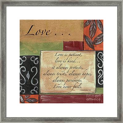 Words To Live By Love Framed Print by Debbie DeWitt