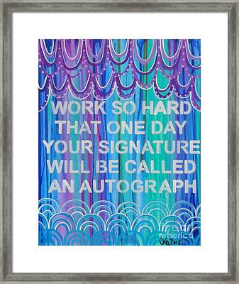 Work So Hard Framed Print by Carla Bank