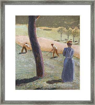 Workers In A Field At Kandern Framed Print by August Macke