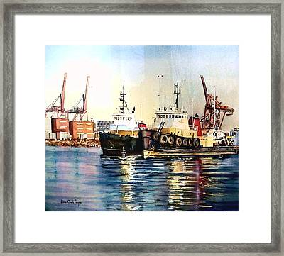 Working Boats -seattle  Framed Print by June Conte  Pryor
