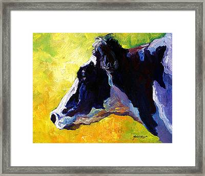 Working Girl - Holstein Cow Framed Print by Marion Rose
