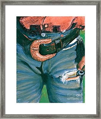Working Jeans Framed Print by Theresa Cangelosi