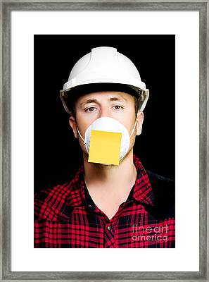 Workman With A Sticky Note Reminder Framed Print by Jorgo Photography - Wall Art Gallery