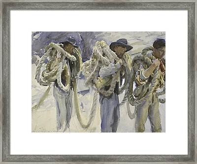 Workmen At Carrara Framed Print by John Singer Sargent