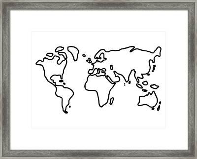 World Globe Framed Print by Lineamentum