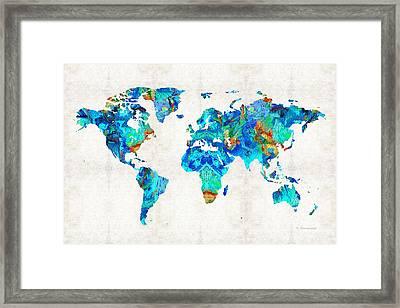 World Map 22 Art By Sharon Cummings Framed Print by Sharon Cummings