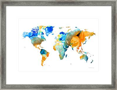World Map Art - Map Of The World 14 - By Sharon Cummings Framed Print by Sharon Cummings