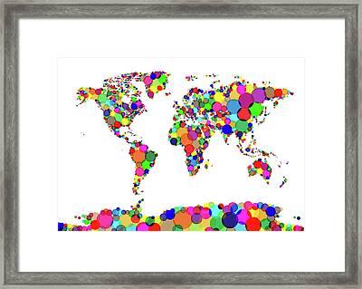 World Map Circles Framed Print by Michael Tompsett