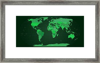 World Map In Green Framed Print by Michael Tompsett