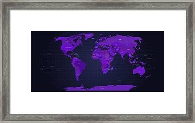 World Map In Purple Framed Print by Michael Tompsett