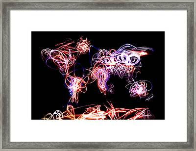 World Map Light Writing Framed Print by Michael Tompsett