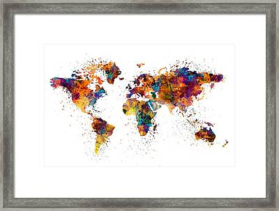 World Map Framed Print by Marian Voicu