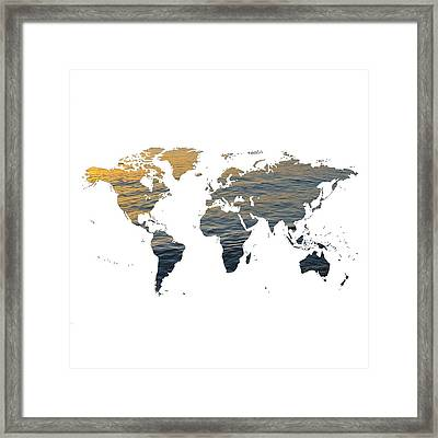 World Map - Ocean Texture Framed Print by Marianna Mills